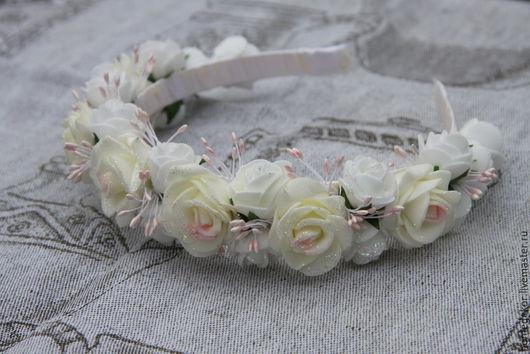 Диадемы, обручи ручной работы. Ярмарка Мастеров - ручная работа. Купить Ободок для волос Свадебная роза. Handmade. Белый, фотосессия