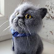 Куклы и игрушки ручной работы. Ярмарка Мастеров - ручная работа Игрушка из шерсти кот Марфа - самый унылый кот в мире. Handmade.