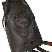 Сумки и аксессуары handmade. Livemaster - original item Leather backpack with a cat. brown. Handmade.