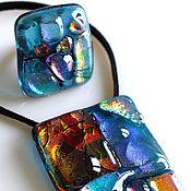 Украшения ручной работы. Ярмарка Мастеров - ручная работа комплект  из стекла, фьюзинг  Миры. Handmade.