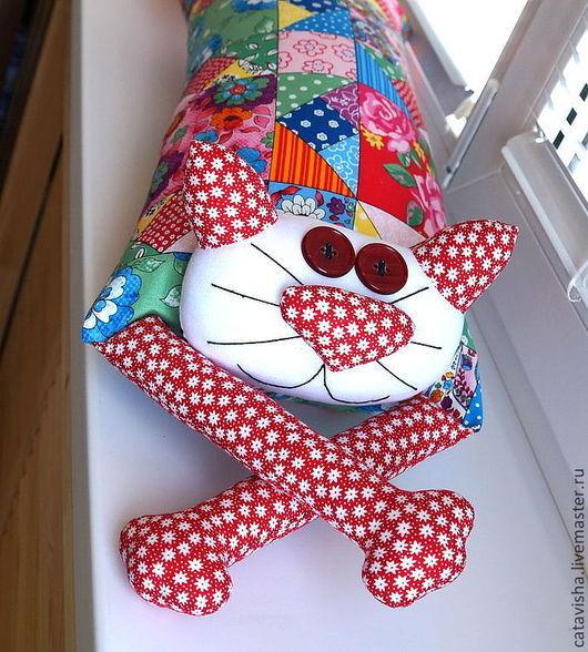 """Экстерьер и дача ручной работы. Ярмарка Мастеров - ручная работа. Купить Игрушка-подушка """"Радужный кот"""" деревенский пэчворк. Handmade."""
