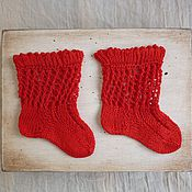 Куклы и игрушки ручной работы. Ярмарка Мастеров - ручная работа Носки антик.кукле красные №111 6-7 см. Handmade.