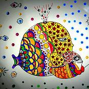 """Картины и панно ручной работы. Ярмарка Мастеров - ручная работа Тарелка декоративная """"Мама кит и сын китенок"""". Handmade."""