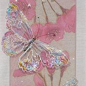 """Картины и панно ручной работы. Ярмарка Мастеров - ручная работа """"Бабочкины свадьбы""""-картина на шелке, бабочки. Handmade."""