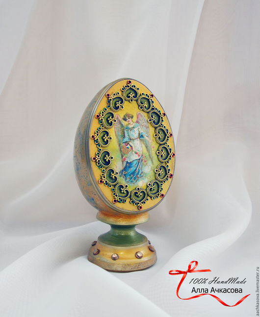 """Яйца ручной работы. Ярмарка Мастеров - ручная работа. Купить Яйцо пасхальное большое """"Ангел"""". Handmade. Золотой"""