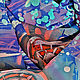 Шарфы и шарфики ручной работы. Ярмарка Мастеров - ручная работа. Купить Северное сияние. Handmade. Синий, ручная роспись