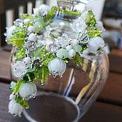 Браслет из бусин ручной работы. Ярмарка Мастеров - ручная работа Браслет лэмпворк lampwork белые ландыши. Handmade.