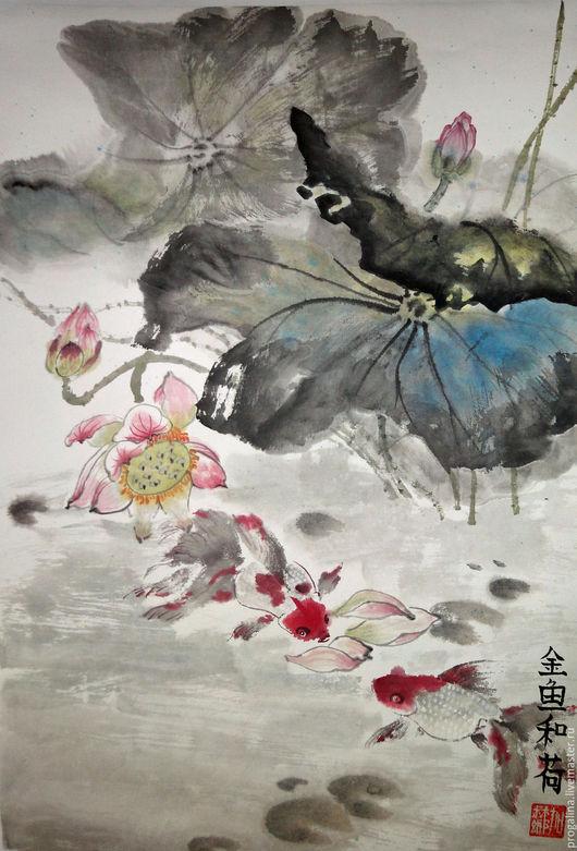 Картины цветов ручной работы. Ярмарка Мастеров - ручная работа. Купить Хрупкая красота. Handmade. Китайская живопись, гармония, серый