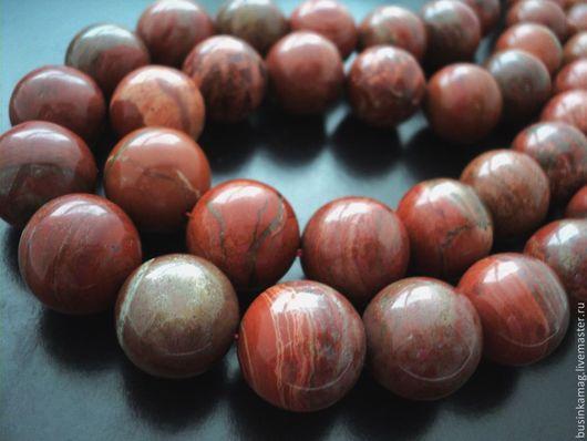 Для украшений ручной работы. Ярмарка Мастеров - ручная работа. Купить Яшма красная гладкие глянцевые бусины 18мм. Handmade.