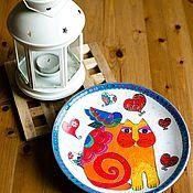 Тарелки ручной работы. Ярмарка Мастеров - ручная работа Керамическая настенная декоративная тарелка Апельсиновая Мурка 21см. Handmade.
