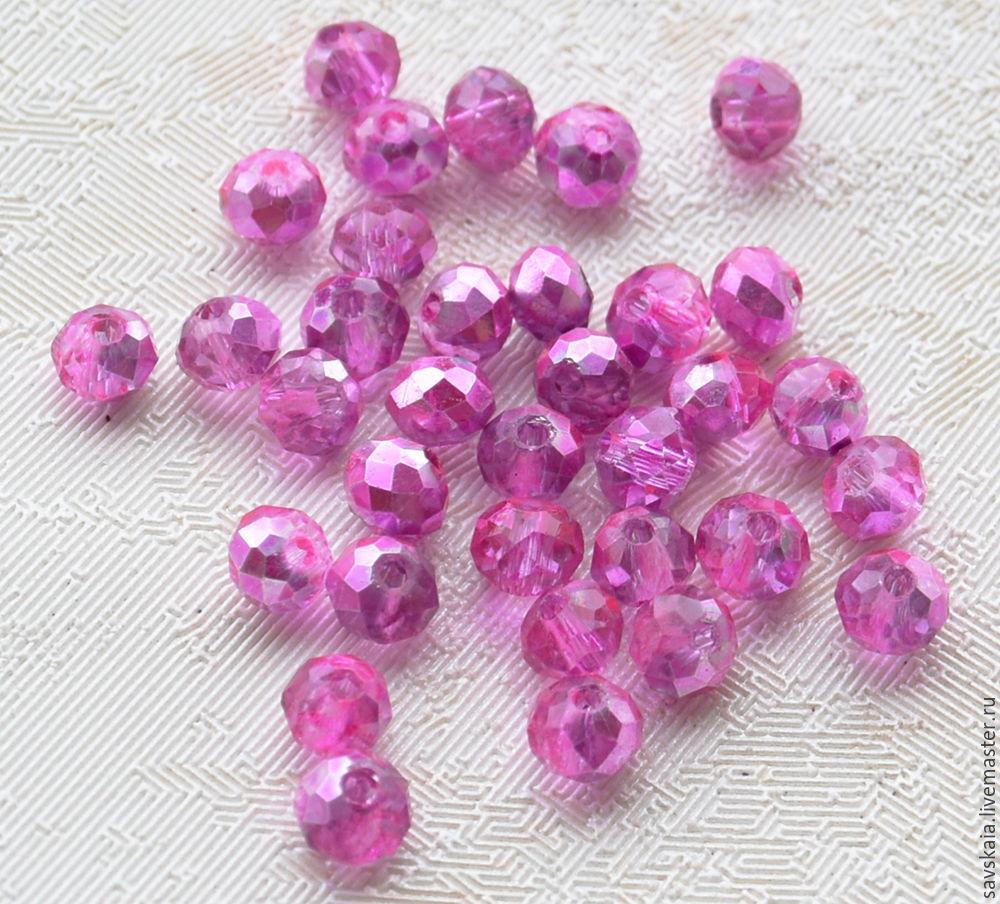 Бусины кристаллы, хрусталь, 4 х 3 мм, рондель, светло-лиловые