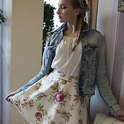 """Одежда ручной работы. Ярмарка Мастеров - ручная работа Юбка """"Бордовые розы на белом"""", хлопок 100%. Handmade."""