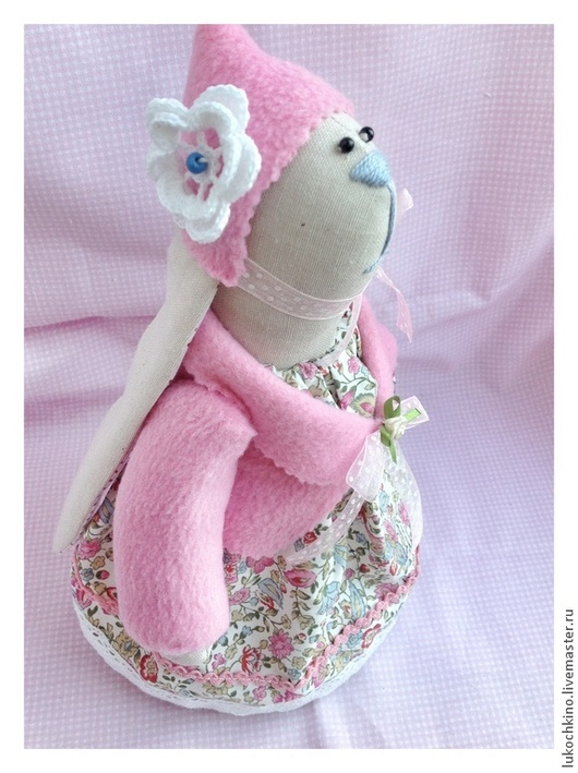 Куклы Тильды ручной работы. Ярмарка Мастеров - ручная работа. Купить Заяц тильда в шапочке. Handmade. Бледно-розовый, подарок