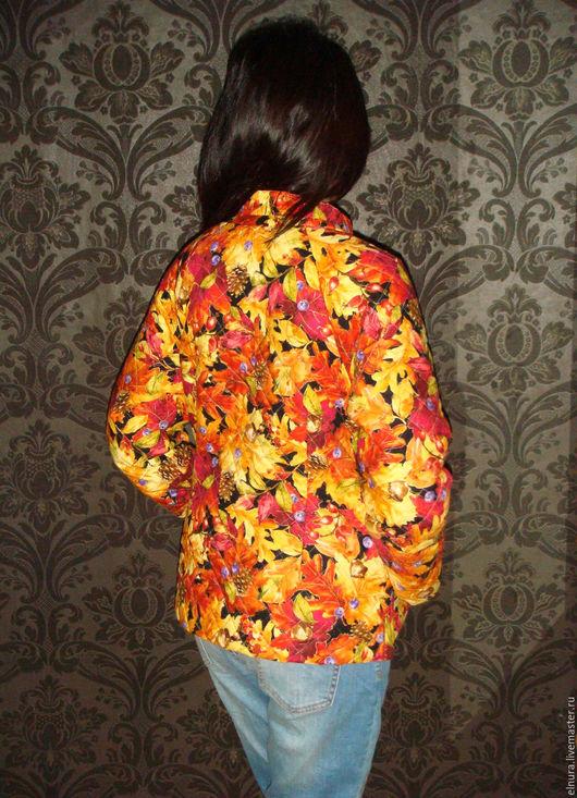 Верхняя одежда ручной работы. Ярмарка Мастеров - ручная работа. Купить Стеганый кафтан ЛИСТЬЯ. Handmade. Цветочный, стеганая куртка