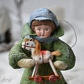 Подарки к праздникам ручной работы. Ярмарка Мастеров - ручная работа Ватная елочная игрушка САШКА С ЛОШАДКОЙ. Handmade.