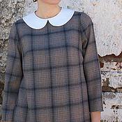 Одежда ручной работы. Ярмарка Мастеров - ручная работа Платье в клетку Арт.105, серое из тонкой шерсти. Handmade.