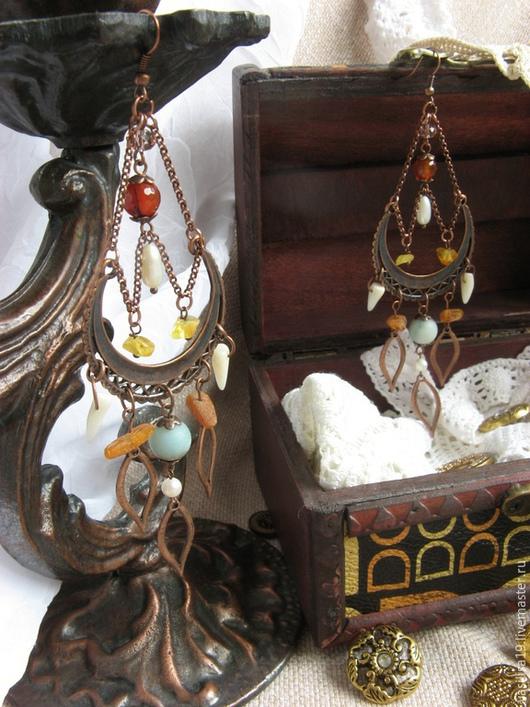 """Серьги ручной работы. Ярмарка Мастеров - ручная работа. Купить Серьги """"Восточный ветер"""" с натуральн. камнями (амазонит, агат, янтарь). Handmade."""