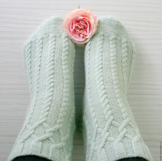 Носки, Чулки ручной работы. Ярмарка Мастеров - ручная работа. Купить носки шерстяные Косички. Handmade. Мятный, подарок, зима