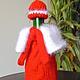 Новый год 2017 ручной работы. Ярмарка Мастеров - ручная работа. Купить ОФОРМЛЕНИЕ БУТЫЛОК  Дед Мороз подарочное новогоднее вязаное. Handmade.
