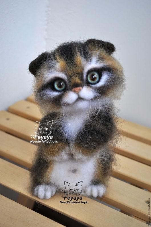 Игрушки животные, ручной работы. Ярмарка Мастеров - ручная работа. Купить Котёнок Пуззи. Handmade. Комбинированный, шерсть