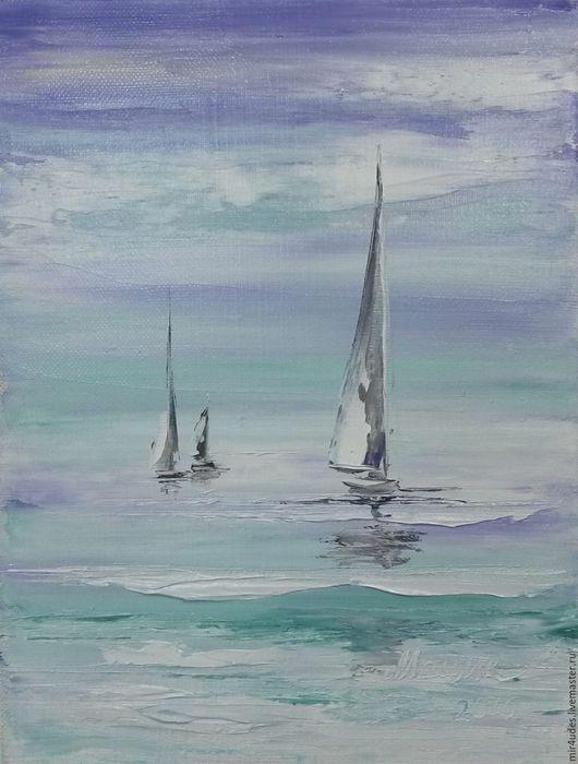 Пейзаж ручной работы. Ярмарка Мастеров - ручная работа. Купить Яхты в море. Handmade. Васильковый, яхты, море, волны, холст