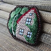 Украшения handmade. Livemaster - original item Brooch knitted embroidered House. birch. summer 2. Handmade.
