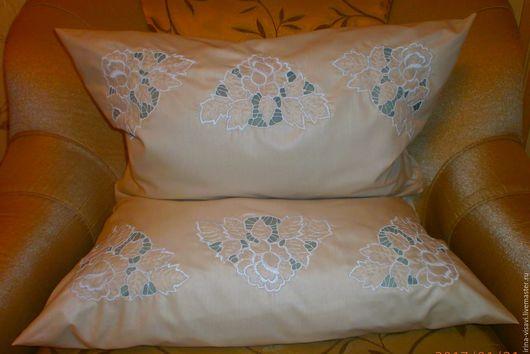 Текстиль, ковры ручной работы. Ярмарка Мастеров - ручная работа. Купить Наволочка с вышивкой на подушку. Handmade. Белый, наволочка на подушку