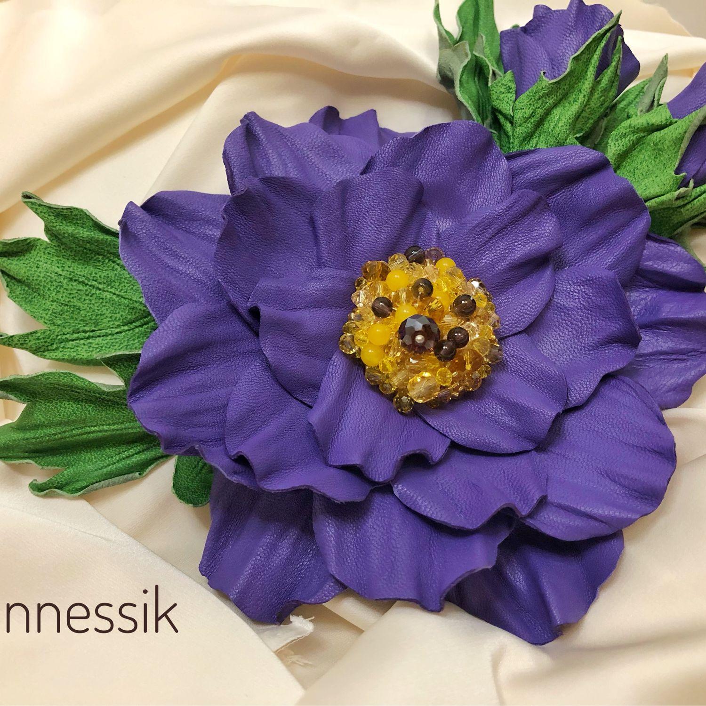 Брошь - цветок из кожи « Очаровашка», Брошь-булавка, Москва,  Фото №1