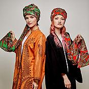 Аксессуары handmade. Livemaster - original item Turban-transformer  hat hijab of Etro cotton with leopard pattern. Handmade.