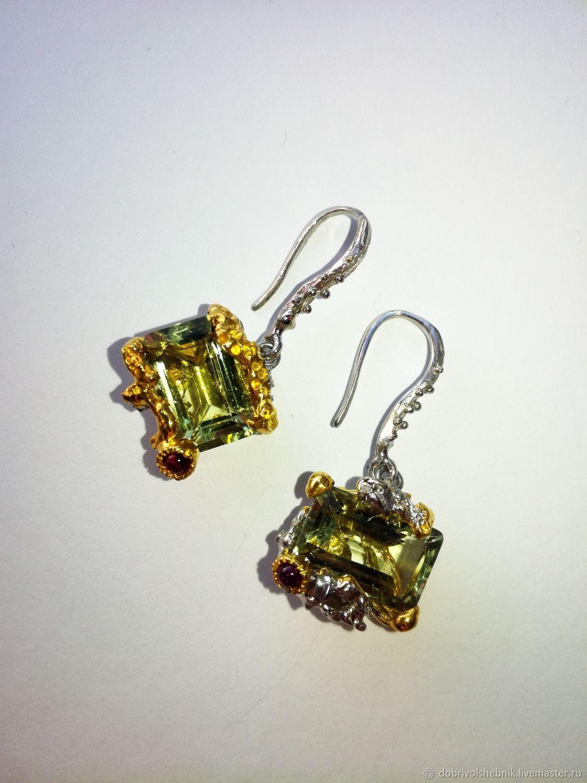 Earrings 'Shimmer' with green amethyst, Earrings, Novaya Usman,  Фото №1