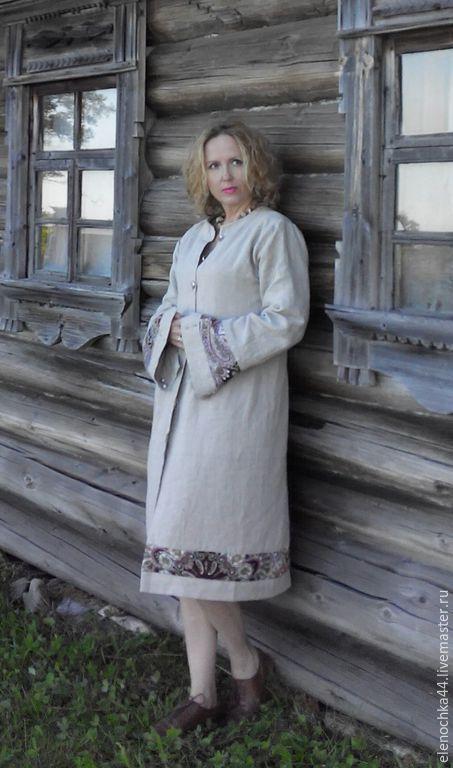 Этническая одежда ручной работы. Ярмарка Мастеров - ручная работа. Купить Льняное пальто Кижи. Handmade. Пальто, хлопок, этника