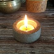 handmade. Livemaster - original item Candle holder clay 4cm color green granite. Handmade.