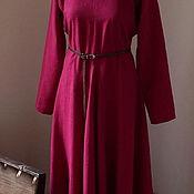 Одежда ручной работы. Ярмарка Мастеров - ручная работа Вседневное льняное платье древнего кроя цвета фуксии. Handmade.
