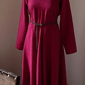 Одежда handmade. Livemaster - original item Everyday linen dress of ancient cut fuchsia. Handmade.