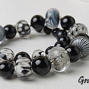 Украшения handmade. Livemaster - original item Black and white beads. Handmade.