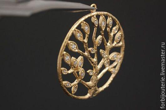 033 Подвеска `Дерево жизни` из латуни с позолотой и фианитами. Качественное гипоаллергенное покрытие gold plated. Для украшений ручной работы. Южная Корея