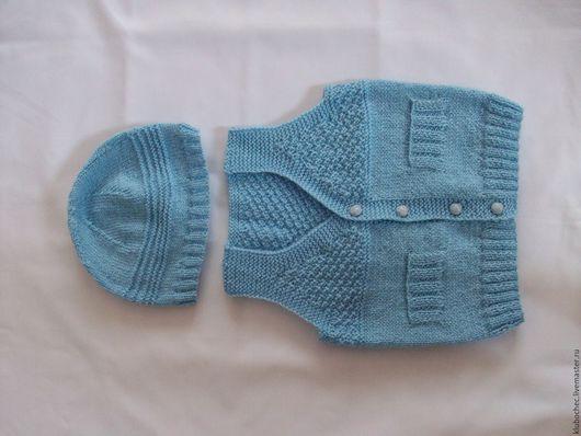 Одежда для мальчиков, ручной работы. Ярмарка Мастеров - ручная работа. Купить Безрукавка детская с шапочкой. Handmade. Голубой