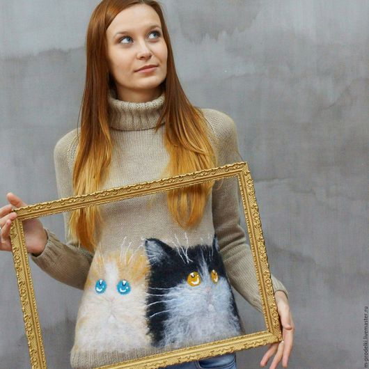 Кофты и свитера ручной работы. Ярмарка Мастеров - ручная работа. Купить Свитер вязаный Cat (21). Handmade. Бежевый, для девушки