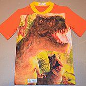 Одежда ручной работы. Ярмарка Мастеров - ручная работа Футболка с динозаврами. Handmade.