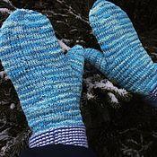 Аксессуары handmade. Livemaster - original item Blue and white double mittens, warm and beautiful!. Handmade.