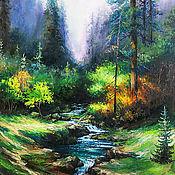 "Картины и панно handmade. Livemaster - original item Landscape Oil Painting on canvas - ""Emerald autumn forest"". Handmade."