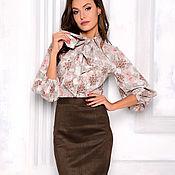Одежда handmade. Livemaster - original item Pencil skirt from ecosense chocolate. Handmade.