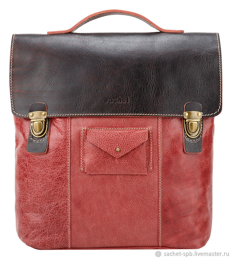Leather backpack 'New Student' (cranberry), Backpacks, St. Petersburg,  Фото №1