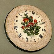Watch handmade. Livemaster - original item Wall clock Bouquet of roses. Handmade.
