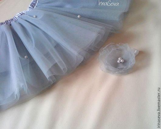 Юбка-пачка благородного серого цвета расшита бусинами, возможно изготовление для девочек в любом цвете и размере