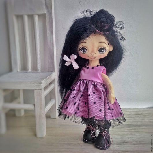 Коллекционные куклы ручной работы. Ярмарка Мастеров - ручная работа. Купить Девочка в шляпке с вуалью, 19 см. Handmade.