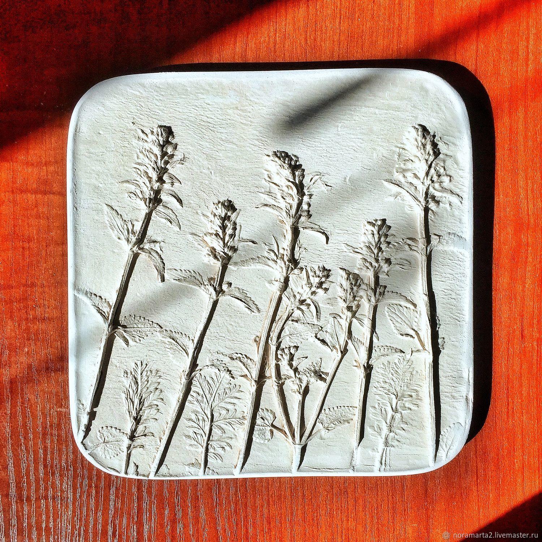 Гипсовое панно Отливки цветов Оттиски цветов Ботанический барельеф Панно для интерьера