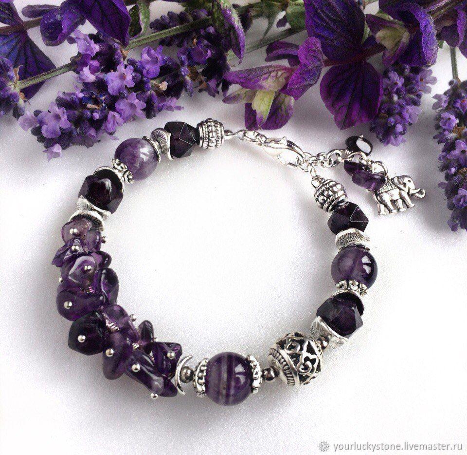Bracelet made of natural amethyst, Bead bracelet, Tolyatti,  Фото №1