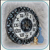 """Для дома и интерьера ручной работы. Ярмарка Мастеров - ручная работа Часы настенные большие """"Чёрно-голубой винтаж"""". Handmade."""