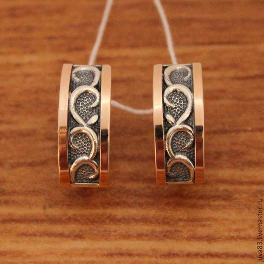 Серьги ручной работы. Ярмарка Мастеров - ручная работа. Купить Серебряные серьги с золотыми накладками, серебро 925. Handmade. Серебряный